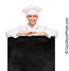 sonriente, hembra, Chef, blanco, blanco, tabla