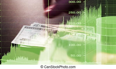 Charts Graphs Money Non Looping, mixed media CG and Footage