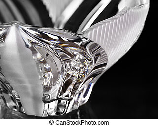 Crystal Bowl - An empty crystal bowl on a black background