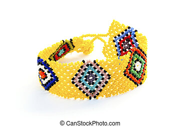 Colorful Woven Beaded Zulu Wrist Band Bracelet on White -...