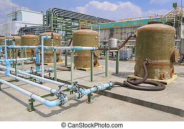 Chemical tank storage with PVC pipe line in factory