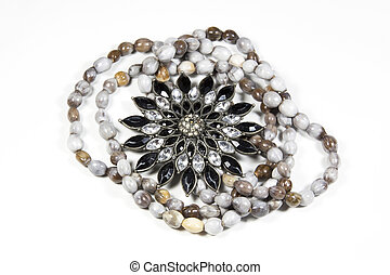 Closeup Arrangement Of Costume Jewelry and Beads - closeup...