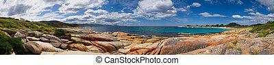 beautiful bicheno - bicheno beach in tasmania australia with...