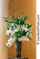 flor, ramo, vidrio, florero