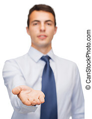 friendly buisnessman showing something on the palm