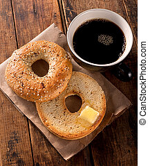 Toasted Bagel - A delicious toasted everything bagel with...