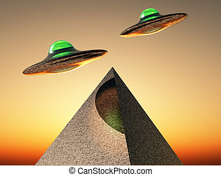 ufo flying over a pyramid