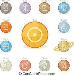 Planetary Icons Pack - Icons pack with symbols of major...
