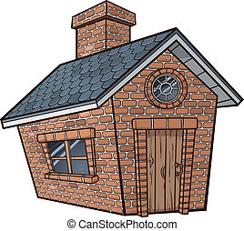 Little brick house. Vector clip art illustration with simple...