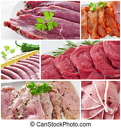 raw meat collage - a collage with some pictures of different...