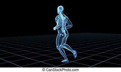 Male jogger - Medical 3d animation of a male jogger