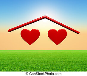 two hearts under a home roof