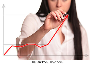businesswoman - Business woman drawing an arrow on glass