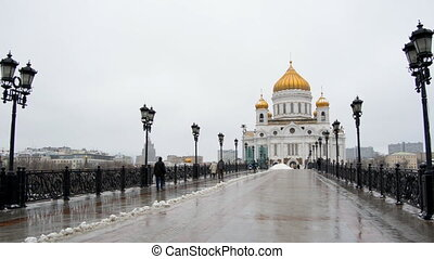 MOSCOW, RUSSIA Winter view of Christ the Savior Cathedral -...