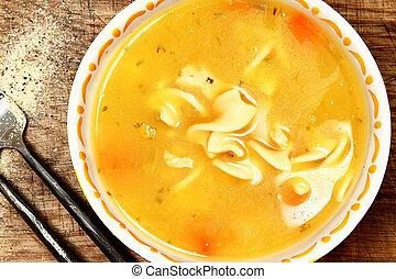 conservado, pollo, Fideo, sopa, tazón, tabla