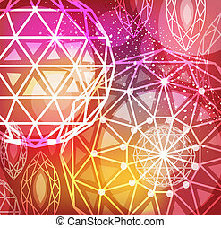 Abstract red background with linear diamonds cutting