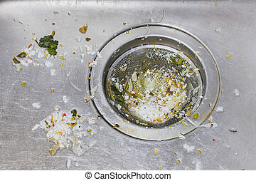 Dirty sink - Close up dirty sink or basin with foodwaste...