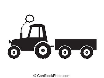 Tractor - Vector black tractor icon on white background