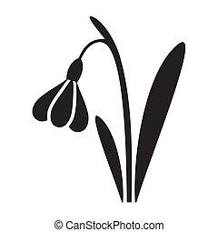 Snowdrop - Vector black snowdrop silhouette icon easter...