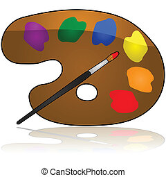 Color palette - Glossy illustration of a painter's color...