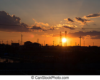 Silhouette of transmission tower - Silhouette of the...