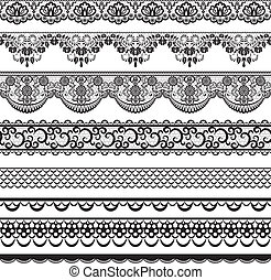 lace borders - Set of black lace borders isolated on white