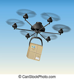 Drone Parcel - Drone or unmanned aerial vehicle UAV...