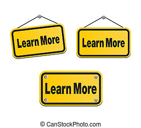 learn more - yellow signs - suitable for user interface