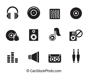 Music and sound icons - Silhouette Music and sound icons -...