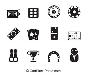 gambling and casino Icons - Silhouette gambling and casino...