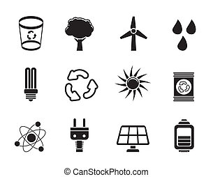Ecology, energy and nature icons - Silhouette Ecology,...