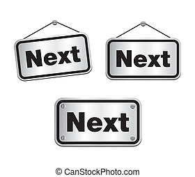 next - silver signs - suitable for user interface