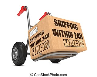 Shipping within 24h - Cardboard Box on Hand Truck. -...