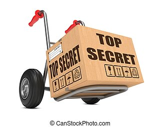 Top Secret - Cardboard Box on Hand Truck. - Cardboard Box...