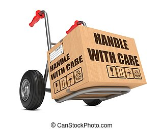 Handle with Care - Cardboard Box on Hand Truck - Cardboard...