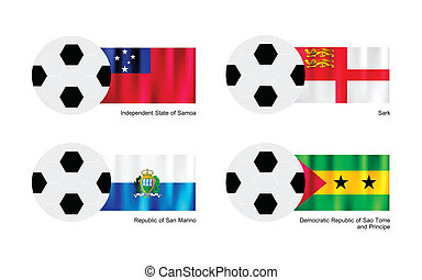 Football with Samoa, Sark, San Marino and Sao Tome Flag - An...