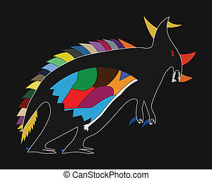 Childs drawing of a dinosaur - Stylized vector childs...