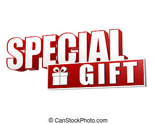 special gift with present box sign in 3d letters and block -...