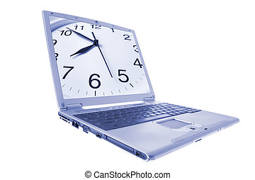 Laptop with Clock on Monitor in Blue Tone