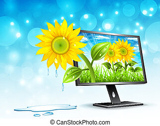 Monitor - Landscape concept with monitor. Vector...