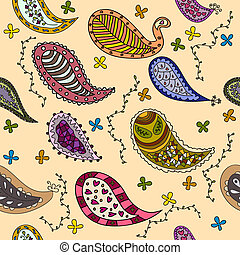 Hand drawn paisley elements vector seamless pattern