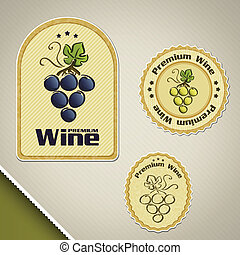 Wine labels with hand drawn bunch of grapes