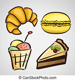 Sketch style sweets - cake, croissant, macaroon