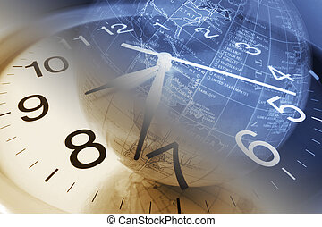 Clock and Globe - Composite of Clock and Globe in Warm and...