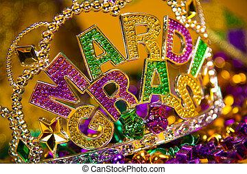 mardi, gras, coroa, decoração