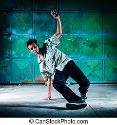 Breakdancer Selected focus on the face