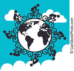 cycling design - cycling design over sky background vector...