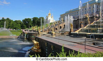 panorama of famous petergof Samson fountain in St Petersburg...