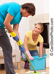 Mans help in cleaning - Good partner is helping wife to...
