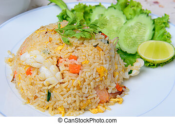 Thai food name seafood fried rice with shrimp and squid